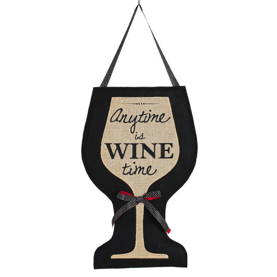 Wine Time Burlap Door Decor