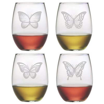 Assorted Butterfly Stemless Wine Glasses (set of 4)