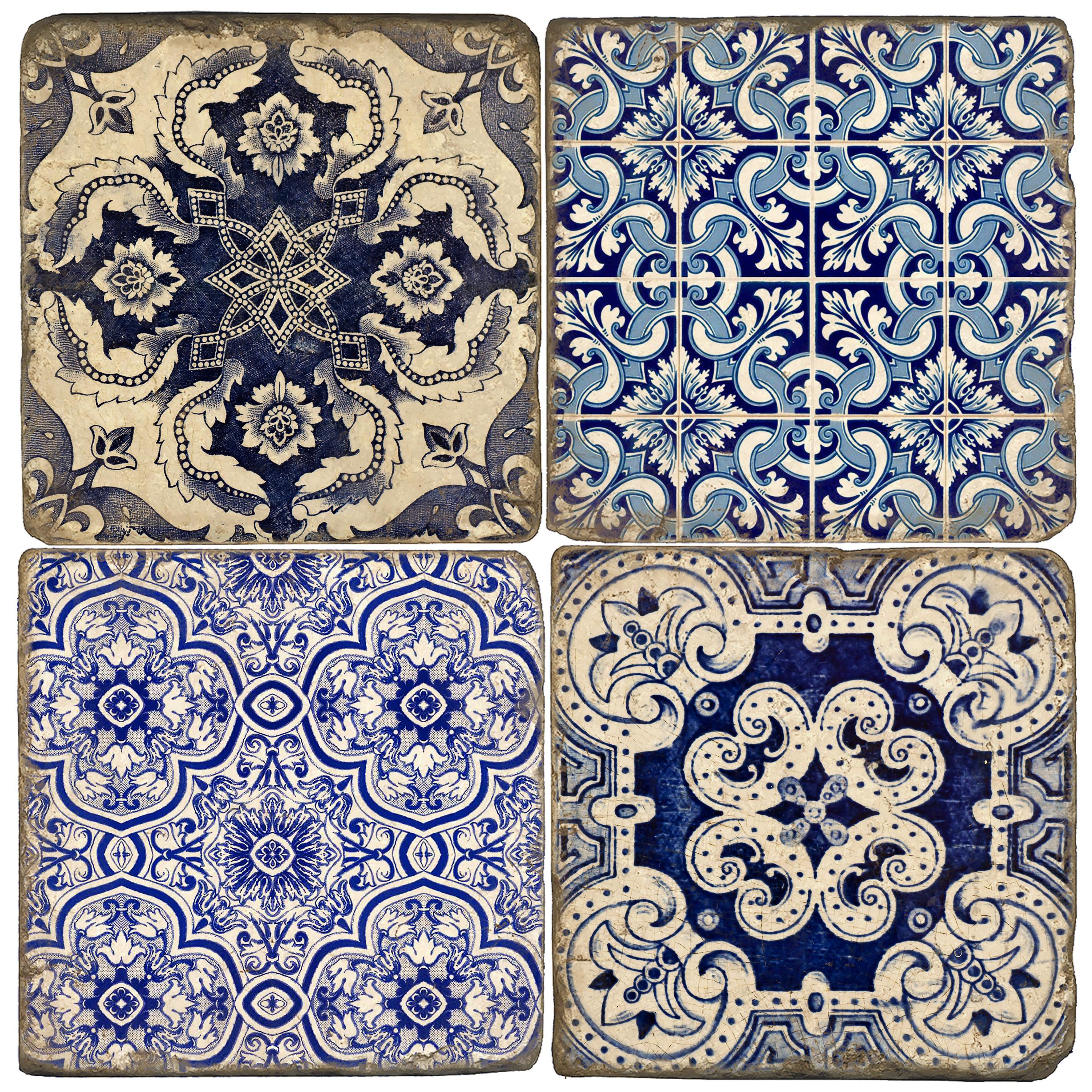Azulejos Italian Marble Coasters