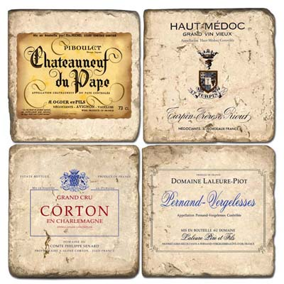 French Wine Labels II Coaster Set