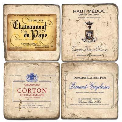 French Wine Labels II Coaster Set