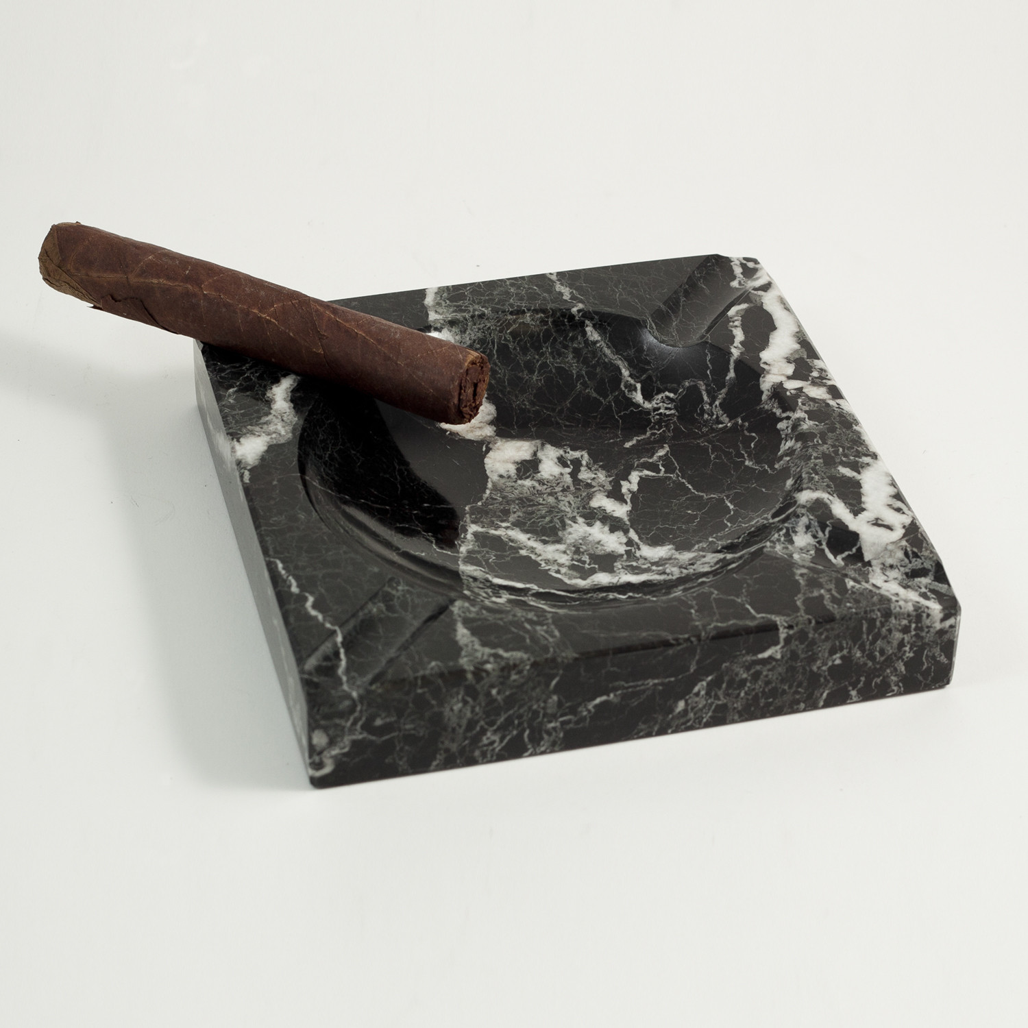 Square Black Marble Four Cigar Ashtray