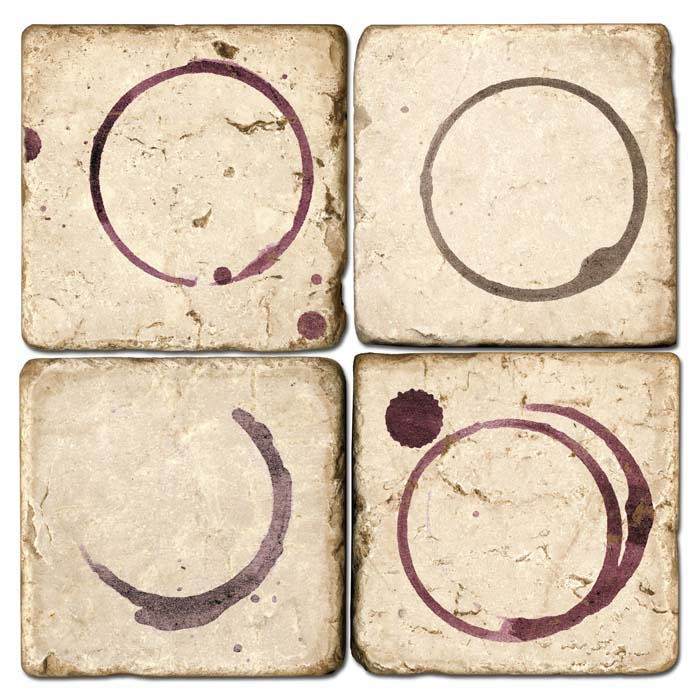 Wine Rings Italian Marble Coasters