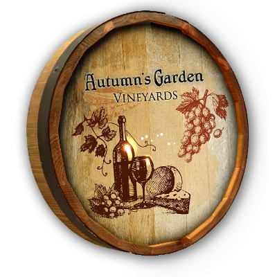 Personalized Oak Vineyard Quarter Barrel Sign