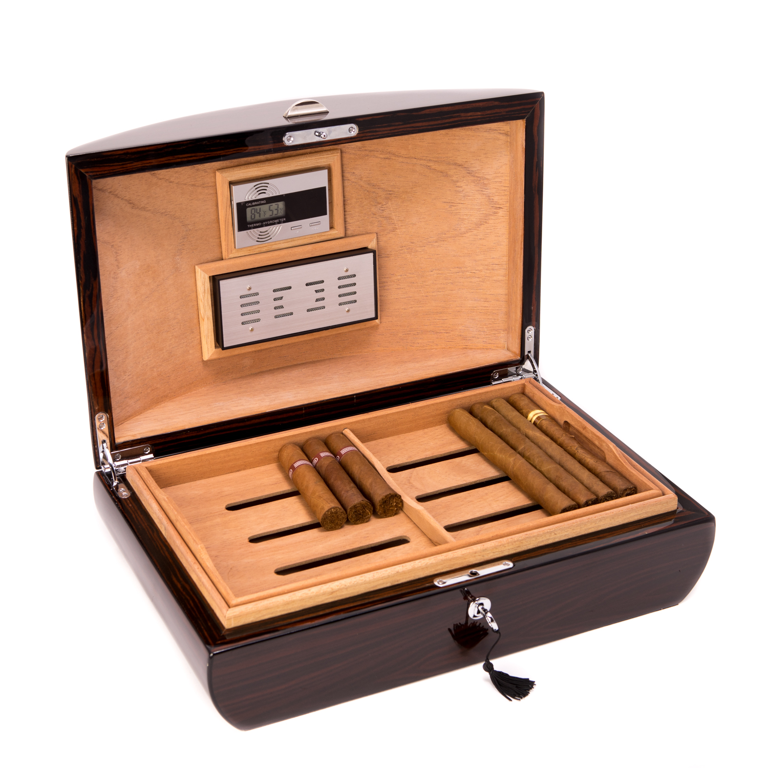 100 Cigar Ebony Humidor with Tray