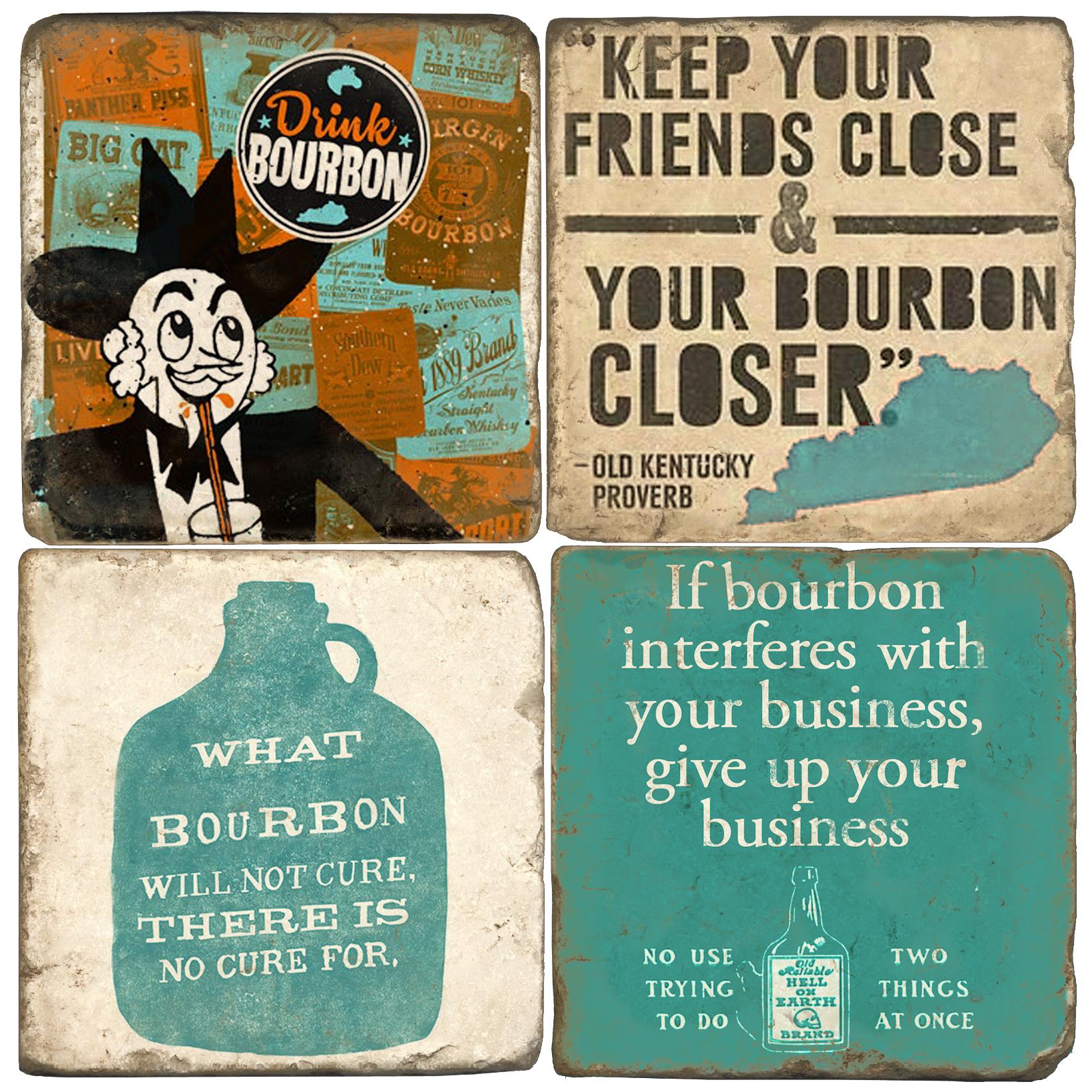 Drink Bourbon Italian Marble Coasters