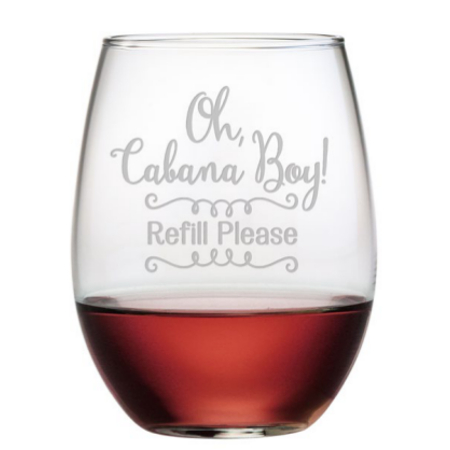 Oh Cabana Boy Stemless Wine Glasses (set of 4)