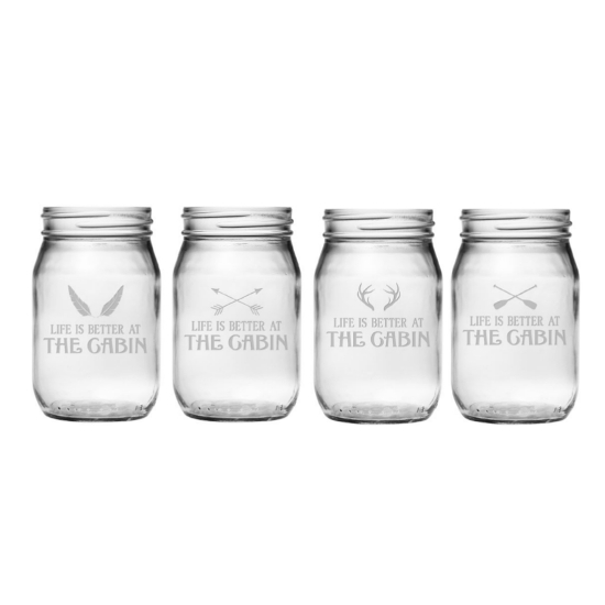 Life Is Better At The Cabin Mason Jar Glasses (set of 4)