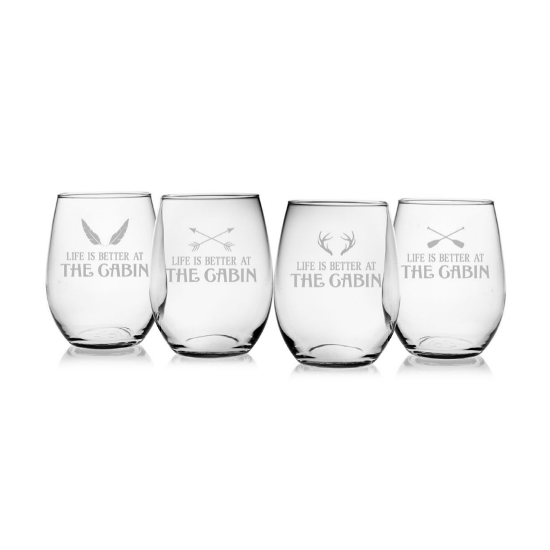 Life Is Better At The Cabin Stemless Wine Glasses (set of 4)