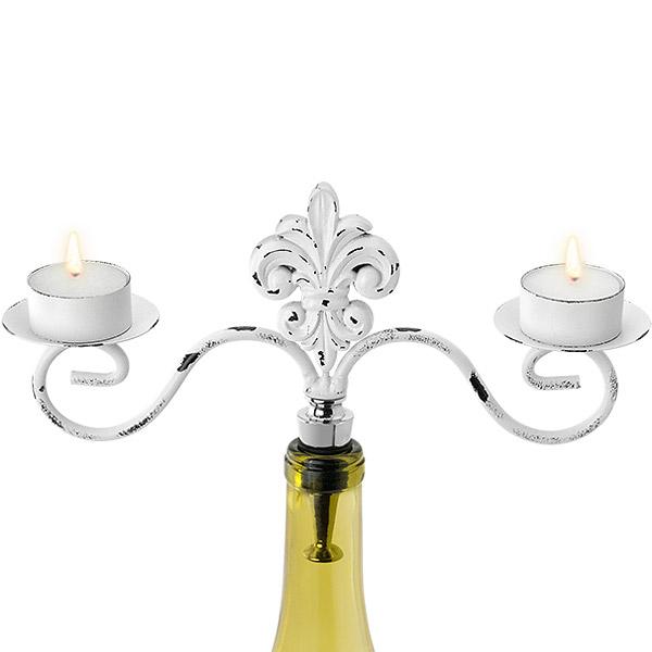 White Fleur De Lis Double Tealight Candelabra