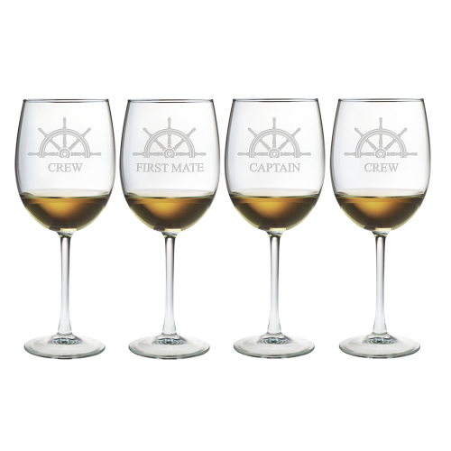 Captain's Collection Etched Stemmed Wine Glasses (set of 4)