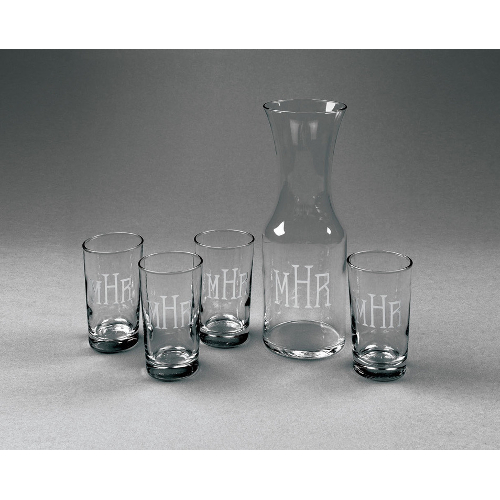 Personalized Carafe and Juice Glass Set