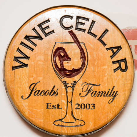 Chiseled Wine Cellar Barrel Head Wall Plaque