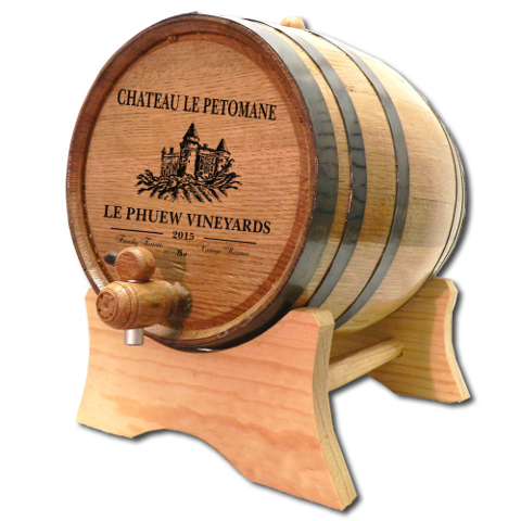 Personalized Castle Vineyard White Oak Aging Barrel