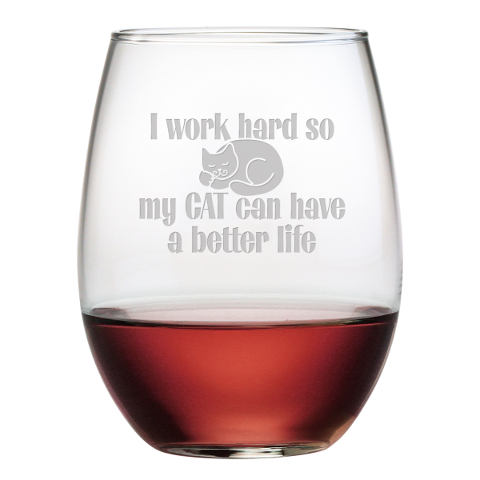 Cat Better Life Stemless Wine Glasses (set of 4)
