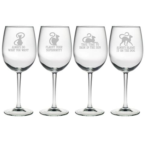 Cat Philosophy Stemmed Wine Glasses (set of 4)