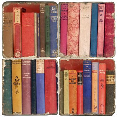 Book Bindings Italian Marble Coasters