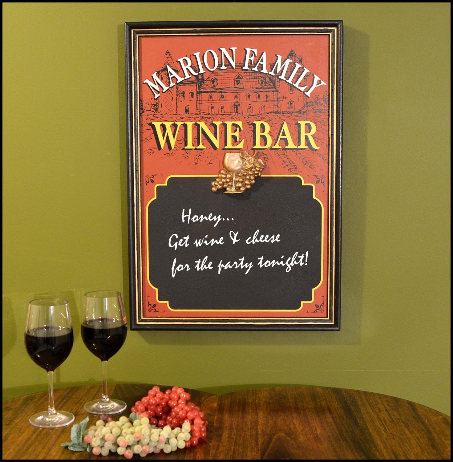 Personalized Wine Bar Sign with Chalkboard