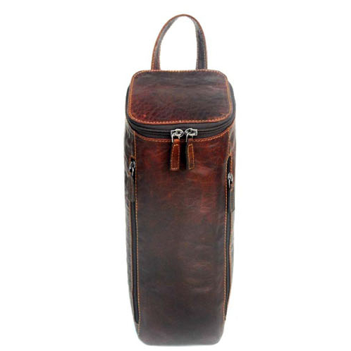 Voyager Genuine Buffalo Leather Champagne Bottle Carrier