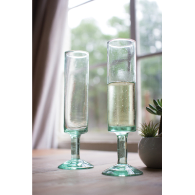 Recycled Glass Mod Champagne Flute, Set of 6