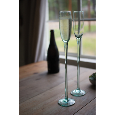 Recycled Glass Sky High Champagne Flutes, Set of 6