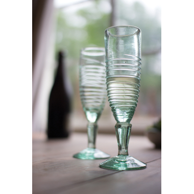 Recycled Glass Spiral Champagne Flute, Set of 6
