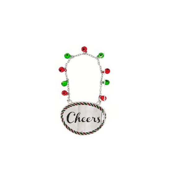 """Cheers"" Holiday Wine Bottle Charm"