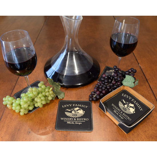 Personalized Chateau Leather Coasters