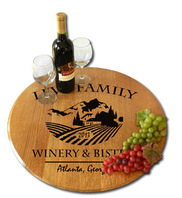 Chateau Personalized Oak Barrel Lazy Susan