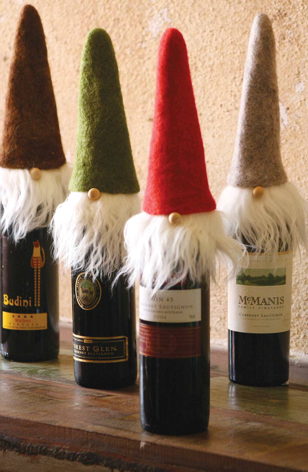 Wispy Beards Santa Wine Toppers (Set of 4)
