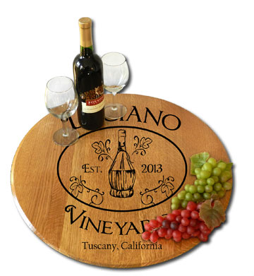 Personalized Chianti Wine Barrel Head Lazy Susan