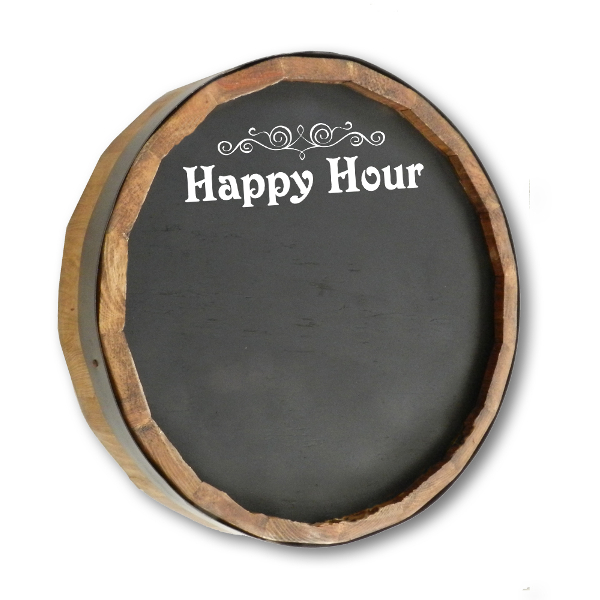 Happy Hour Chalkboard Quarter Barrel Sign