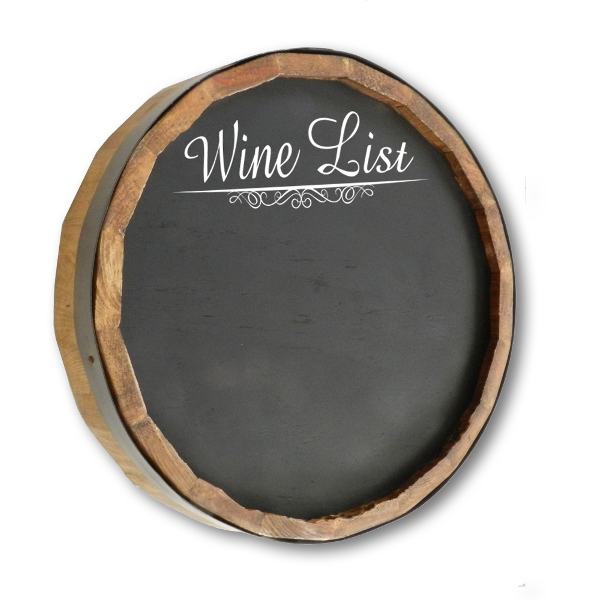 Wine List Chalkboard Quarter Barrel Sign