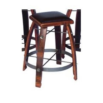 Wine Stave Stool with Leather Top 28 Inch Chocolate
