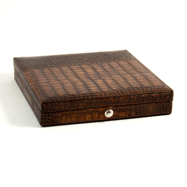 Genuine Crocodile Leather 12 Cigar Humidor with Humidistat