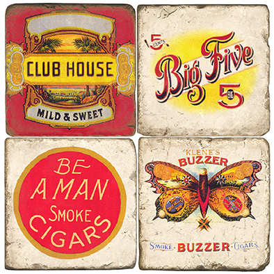 Italian Marble Vintage Cigar Label Coasters (set of 4)
