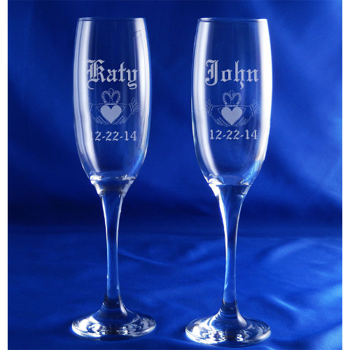 Personalized Claddagh Venue Champagne Flutes (set of 2)