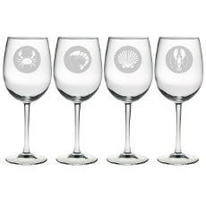 Clambake Circle Etched Stemmed Wine Glass Set