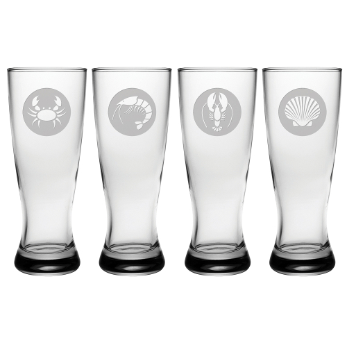 Clambake Circles Grand Pilsner Glasses (set of 4)