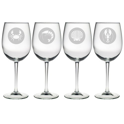 Clambake Circles Etched Stemmed Wine Glasses (set of 4)