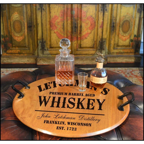 Personalized Classic Distillery Barrel Head Serving Tray