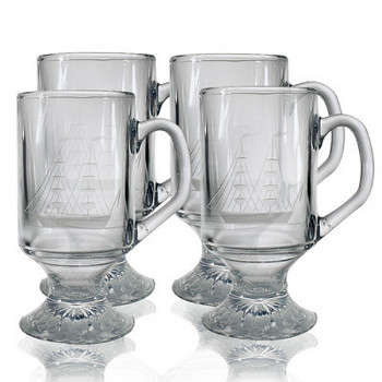 Clipper Ship Footed Coffee Mug Glasses (set of 4)
