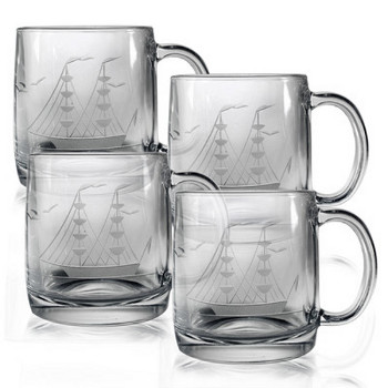 Clipper Ship Etched Coffee Mug Glasses (set of 4)