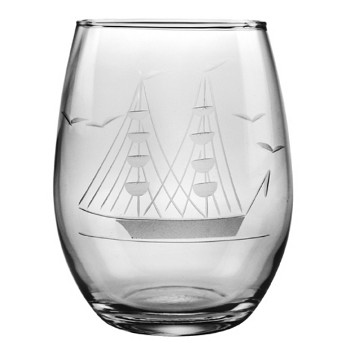 Clipper Ship Stemless Wine Glasses (set of 4)