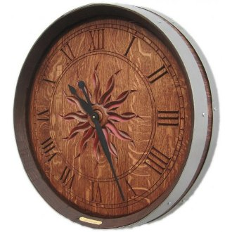 Personalized Carved Barrel Head Clock, Sun Burst