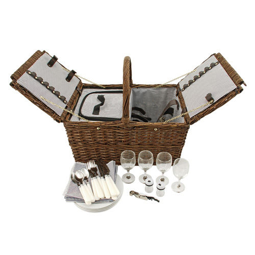Coastal Cape Cod Wicker Wine and Cheese Picnic Basket