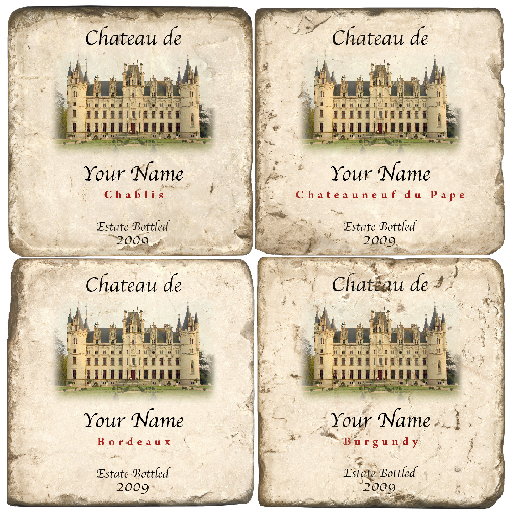French Wine Personalized Name Drop Coasters (set of 4)