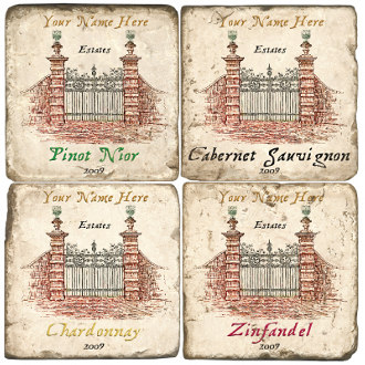 Wine Gate Personalized Marble Coasters (set of 4)