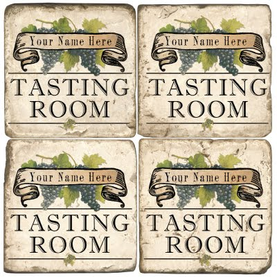 Tasting Room Personalized Marble Coasters (set of 4)