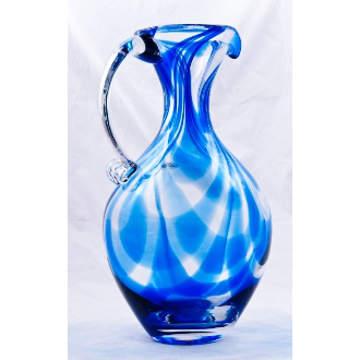 Blenko Glass Cobalt Swirl Pitcher